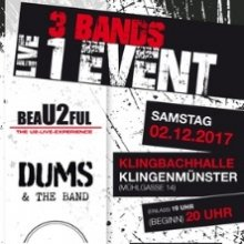Bild: 3 Bands - 1 Event mit beaU2ful, Dums&theBand und On the Fly